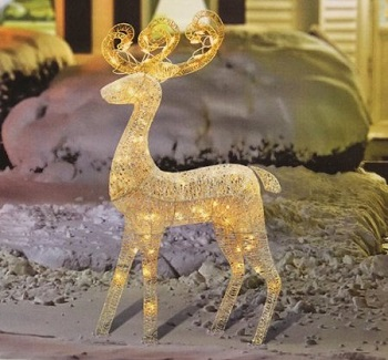 "48"" Elegant Glittered White Reindeer Lighted Outdoor Christmas Yard Art Decorations"