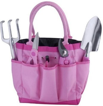 5-piece Garden Tool Bag Gift Set in Pink