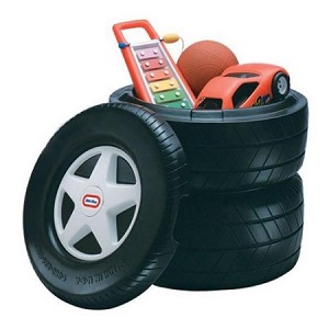 Little Tikes Classic Racing Tire Toy Chest for Kids.