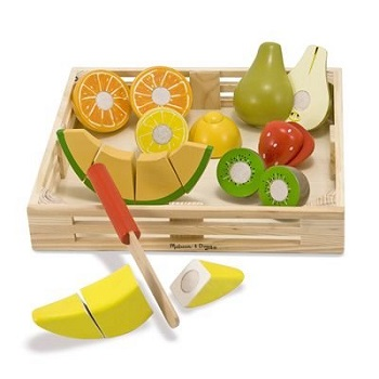 Melissa & Doug Deluxe Wooden Cutting Fruit Crate