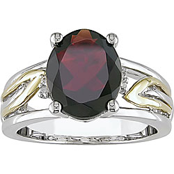 Miadora 10k Gold and Sterling Silver Oval-cut Garnet Ring