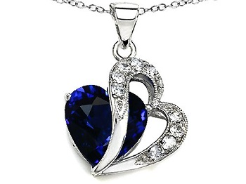 Blue Sapphire Double Heart Pendant in Sterling Silver with Chain