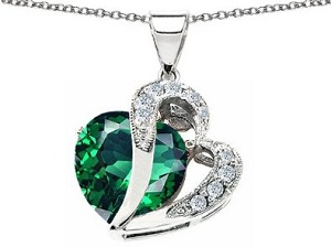 Simulated Heart Shape Emerald Pendant
