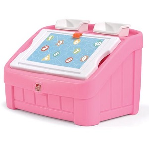 Step 2 2-in-1 Art Toy Box, Pink with lots of storage.