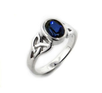 Sterling Silver Celtic Knot and Genuine Blue Sapphire Ring