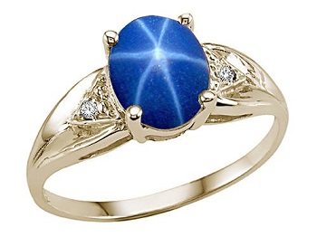 Star Sapphire and Genuine Diamond Ring
