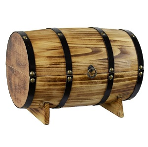 Treasure Chest Toy Box Wooden Vintage Kids Pirate Barrel Storage Brown Oak Trunk for Toys.